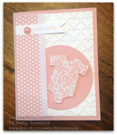 Stampin' Up! Love Blossoms paper and Happy Heart embossing folder work perfect for DIY baby girl card!  Booptique.wordpress.com 1/17/16