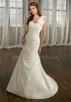 One Shoulder Fit N Flare Taffeta Asymmetric Waist Floor Length With Flowers Wedding Dress