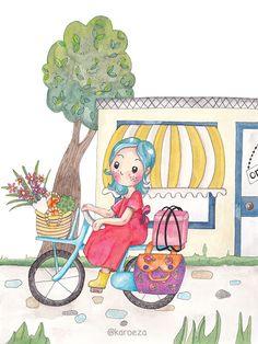 karoeza loves: Illustration || On my bike