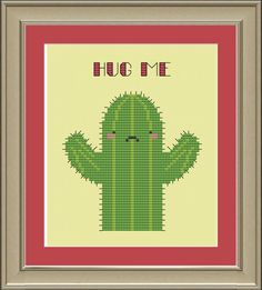 Hug me cute cactus crossstitch pattern by nerdylittlestitcher, $3.00