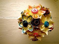 Paper Flower Wedding Bouquet, White, Blue, Pink, Atlas Paper, Kusudama, Rose on Luulla by murtsss