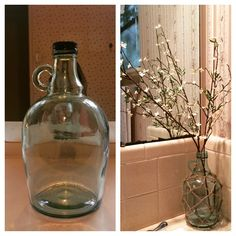 Before and After project of the day! So excited with how it turned out! Up-cycled an old glass wine bottle (Carlo Rossi ... Because it's unbelievable according to my husband)use some twine and a lil bit of patience to create a fisherman's net around the bottle using a technique I found from Kristi at the Wayfair blog. Then I just borrowed some faux flower stems from another vase around the house and Viola! Instant Awesomeness!! P.S. It's gonna turn into a lamp soon just need to get the…