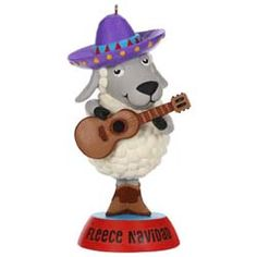 "Press the button on the ornament to hear music from ""Feliz Navidad"" performed by Jos? Size: x x This ornament was first available after the 2019 Hallmark Ornament Premiere Event on July 2019 Blue Christmas, Christmas Carol, Christmas Ornaments, Christmas Tree, Hallmark Cards, Hallmark Keepsake Ornaments, My Favorite Part, Holidays And Events, Sheep"