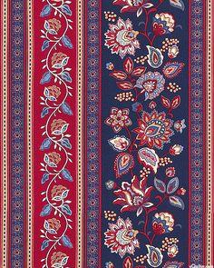 Americana - Jacobian Floral Stripe - Navy