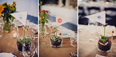 Love the tiny succulent terrariums for table decor. Quirky + Colorful Brooklyn Wedding: Grace + Andrea
