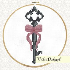 Antique Key Bow Modern Cross Stitch Pattern PDF by VickieDesigns
