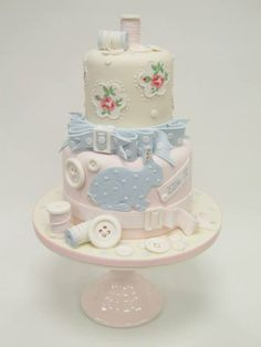 STUNNING cake by https://www.facebook.com/pages/Emma-Jayne-Cake-Design/212660038767761 - love the colours/patterns for a boy/girl Christening <3