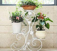 Metall Blumentreppe Blumen Regale Pflanzenständer 66cm mit 3 Körbe Hocker Blumenhocker Regal -Weiß