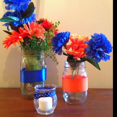Made these centerpieces for my graduation party!!! Thanks pinterst for the awesome idea and Go Gators :)