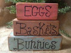Primitive Eggs Baskets Bunnies Conversation Shelf Sitter Wood Blocks