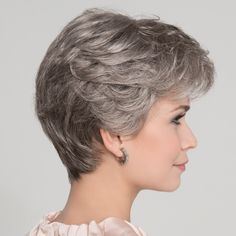 Apart Mono Wig is a refined classic style, from the Hair Power Collection by Ellen Wille. With soft feminine layers on top and a tapered neckline, this ready-to-wear style will look and feel like natural hair. Short Hair Styles For Round Faces, Short Hair With Layers, Short Hair Cuts For Women, Bob Hairstyles For Fine Hair, Short Hairstyles For Women, Short White Hair, Short Wavy, Monofilament Wigs, Silver Grey Hair