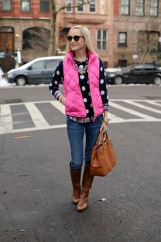 pink vest and polka dot jumper fall layer outfit bmodish