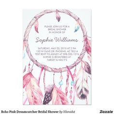 Boho Pink Dreamcatcher Bridal Shower 13 Cm X 18 Cm Invitation Card