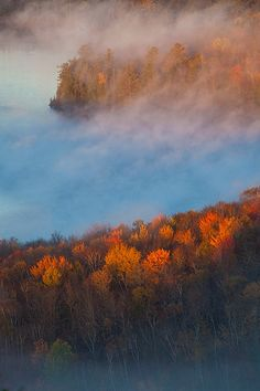 Groton Forest and Kettle Pond at sunrise from Owl's Head, near Marshfield, Vermont