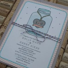 Mason Jar Wedding Invitations with Carved Initials, Vintage, Country Chic, Picnic, Barn, Monogram, Bakers Twine Invitation. $4.00, via Etsy.