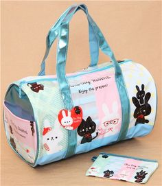 blue rabbit and cat plastic glitter bag from Japan