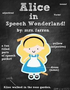Parts of Speech (Nouns, Verbs, Adjectives) Alice in Speech Part Of Speech Noun, Parts Of Speech, Smart Board Activities, Speech Activities, Text Complexity, 8th Grade Ela, Alice In Wonderland Book, British Literature, Nouns And Verbs