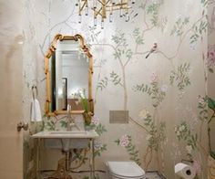 Small bathroom idea/ Love the wall paper