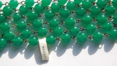 Vintage Jade Green 8mm Glass Beaded Chain Japan by yummytreasures.