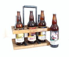 22 oz Homebrew Beer Caddy 6-pack Bottle Carrier Wooden Beer Caddy 22oz Microbrew Reclaimed Wood Groomsmen Gift The Macho Carrier Iron Handle by baconsquarefarm