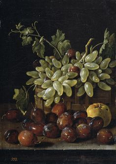 Luis Egidio Meléndez de Rivera Durazo y Santo Padre (1716-1780) — Still Life with Plums, Grapes and Apples, 1762 : Museo Nacional del Prado, Madrid. Spain (723×1023)