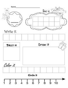 Pick a number 1-10, practice dotting it, writing it, tally it, draw a picture…