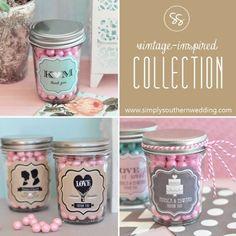 Mason Jar Wedding Favors - Vintage Weddings  (add monogrammed #candy. #diy $7.00 #printables. www.customweddingprintables.com)