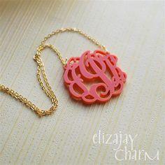 Entwined monogram acrylic necklace- $28.95