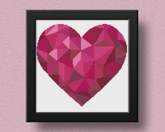 Heart Cross Stitch Pattern, Geometric Xstitch, Embroidery Instant Download, Cross Stitch Chart, Modern Cross Stitch, Color, Love, Valentines