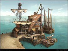 Fantasy Town, Fantasy Castle, Fantasy House, Fantasy Map, Medieval Fantasy, Fantasy World, Disneysea Tokyo, Sea Of Thieves, Building Concept