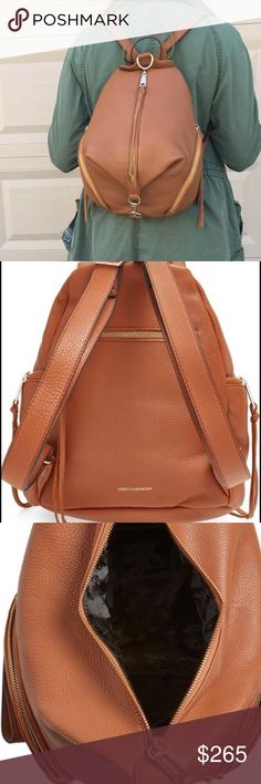 """Rebecca Minkoff Almond Julian Backpack Perfect backpack for you busy on-the-go fall! 10""""W x 12""""H x 5 ½""""D. (Interior capacity: medium.) 3"""" strap drop. A campus-classic backpack goes glam in soft, lavishly textured leather for serious street-chic attitude. A multitude of exterior zip pockets with polished hardware will keep your smartphone, keys and other essentials close at hand. Zip closure. Top carry handle; adjustable shoulder straps. Exterior zip pockets. Interior zip, wall and smartphone…"""