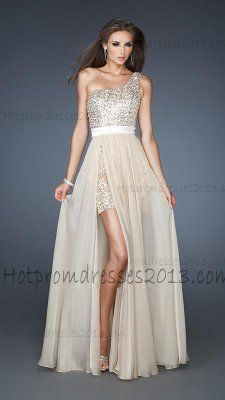 One Shoulder High Low Nude Sequin Prom Dress with White Waistband  Nude  Sequin Prom Dress 111988159