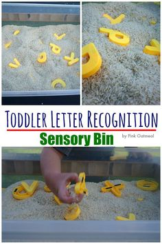 Toddler Letter Recognition Sensory Bin - A fun way of learning through play! Use any sensory medium and just add letters!