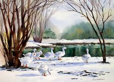 Geese in the snow、Ann Mortimer