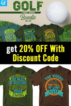 USE COUPON CODE: 20offnow This bundle contains 50 premium designs in vector format that are perfect for t-shirts, hoodies, mugs, and flyers too. With completely editable and pixel perfect vector files you can adapt these t-shirt designs to any size. #editabledesigns #tshirtdesign #tshirtdesignbundle #golffans #ilovegolf #golftshirts  #ads T Shirt Design Template, 50 And Fabulous, Golf T Shirts, Vector Format, Flyers, Design Bundles, Funny Tshirts, 50th, Coupon