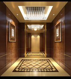 Like the size of it. Don't like the mirror. The elevator should be large, like an IKEA 2 ton elevator. Lift Design, Cabin Design, Floor Design, Ceiling Design, Modern House Colors, Foyer Flooring, Flooring Ideas, Elevator Design, Residential Lighting