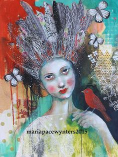 Crown Of Feathers- Original mixed media painting by Maria Pace-Wynters