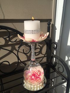 Wedding wine glass candle holder. Wedding ideas. MyAwesomeWedding on Etsy