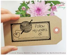 Rubber Stamp For Crocheter / Crochet Artist. Personalized Crochet Stamp, Handmade by, Knitthing Stamp, Like us on Facebook, Follow me (2908) on Etsy, $18.00