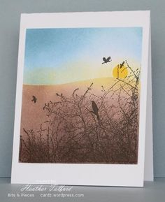 Many Penny Black nature stamps are silhouettes which are perfect stamped in black with a colorful sponged sky behind.