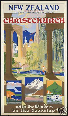 1930s New Zealand Christchurch Travel Poster reprint A3