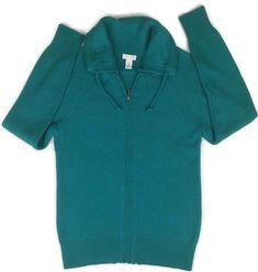 Chicos Cardigan Sweater Lightweight Cotton Full Zip Neck Warmer Collar Size 0 S4 #ChicosWeekendsby #Cardigan
