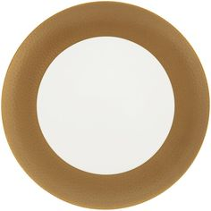 Amara Port Cros Golden Dinner Plate ($19) ❤ liked on Polyvore featuring home, kitchen & dining, dinnerware, metallic, gold rimmed dinnerware and gold rimmed dinner plates