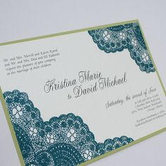 Teal and Chartreuse Vintage Antique Lace Wedding Invitation Set    Teal, Lime, Green, Blue, Peacock, Colors    www.MedleyInvitationDesigns.com  http://medleysinvitations.etsy.com