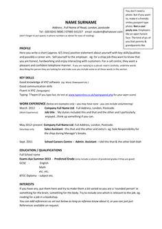 Cv Template Undergraduate 1 Cv Template Pinterest Sample