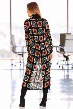 Transcendent Crochet a Solid Granny Square Ideas. Inconceivable Crochet a Solid Granny Square Ideas. Cardigan Au Crochet, Crochet Coat, Crochet Jacket, Lace Cardigan, Cardigan Pattern, Crochet Clothes, Pull Crochet, Mode Crochet, Granny Square Crochet Pattern