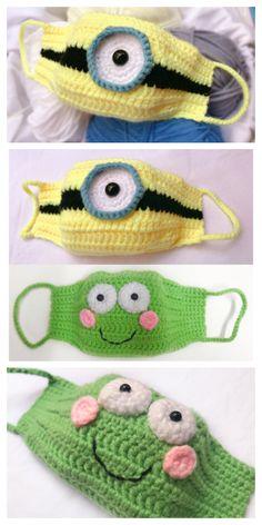 Minion and Frog Mask Crochet Patterns + Video – DIY Magazine – Masken – Home crafts Crochet Mask, Crochet Diy, Crochet Faces, Minion Crochet Patterns, Minion Pattern, Knitting Patterns, Crochet Minions, Easy Knitting Projects, Crochet Projects