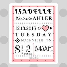 A few potentials baby names and misc pinterest personalized baby announcement newborn gift by kidsbloomdesigns negle Images