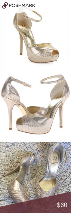 """▪️Adrianna Pappel▪️Champagne Peep Toe Heels▪️ Gorgeous champagne gold Adrianna Papell 'Rebecca' metallic, peep toe high heel shoe▪️Delicate ankle strap with buckle closure▪️Worn once for almost 8 hours and were very comfy▪️Approx 5 inch with a 1"""" hidden platform▪️Very small mark in back heel (see last pic)▪️ Adrianna Papell Shoes Heels"""