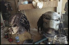 Prop heads with and without the mask behind the scenes on #Predator (1987).